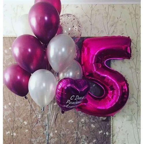 набор розовых шаров хром и цифра 5