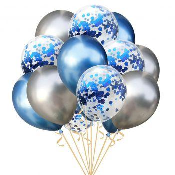 Набор серебристых, синих хромовых и шаров с конфетти