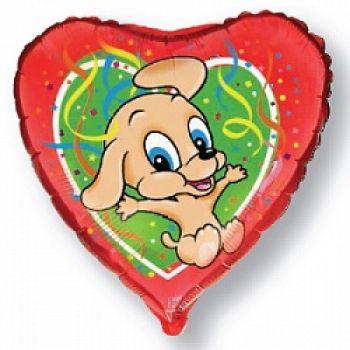 Фольгированное сердце (46 см) Собака