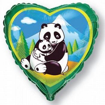 """Фольгированное сердце (46 см) """"Панды"""" (46 см)"""