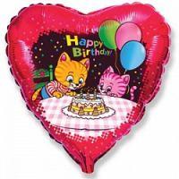 Фольгированное сердце (46 см) Котики с шариками