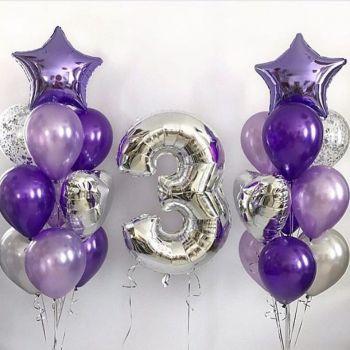 Набор фиолетовых и серебристых шаров и цифра 3