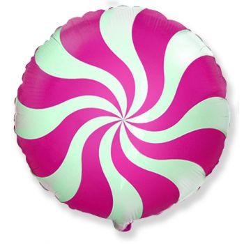 Фольгированный круг (46 см)  Розовый леденец