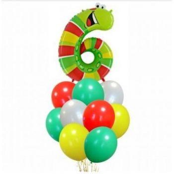 Набор из 10 шаров и цифра червячок