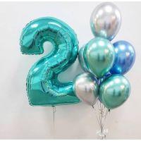 Набор хромовых шаров и цифра 2
