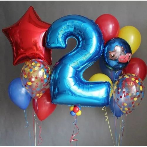 набор сине-красных шаров сыну с цифрой 2