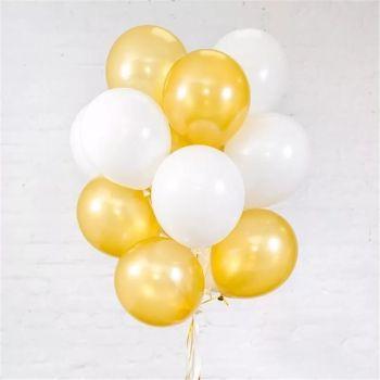 Латексные шары белого и золотстого цвета (цена за шар)