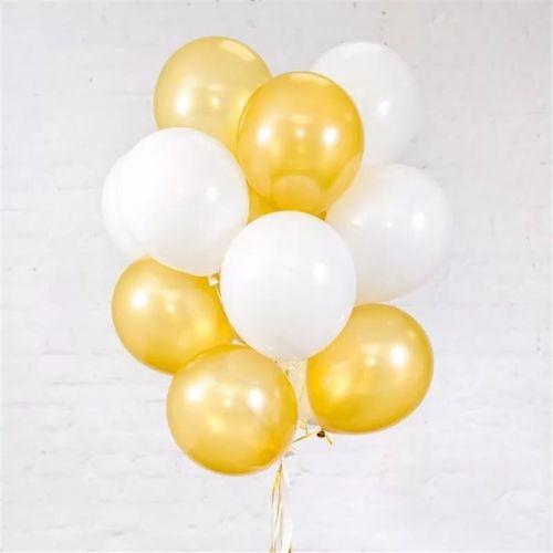Фото шаров золотого и белого цвета с доставкой ночью
