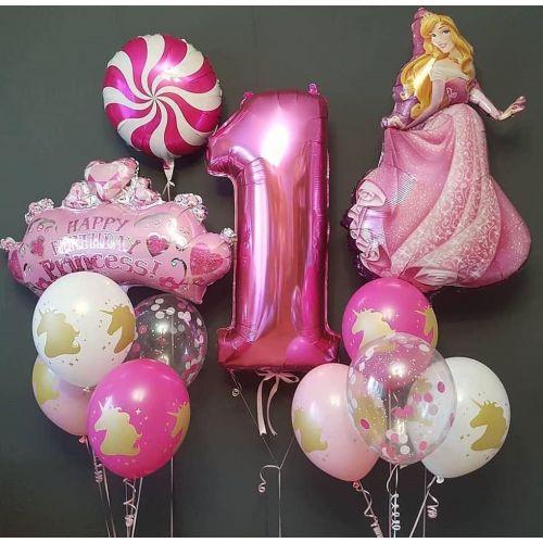 Набор ярко розовых шаров и цифра 1 фуксия