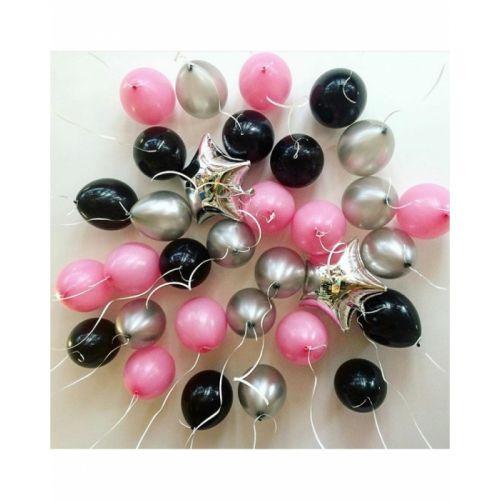 Облако латексных шаров розового, чёрного и серебристого цвета хром