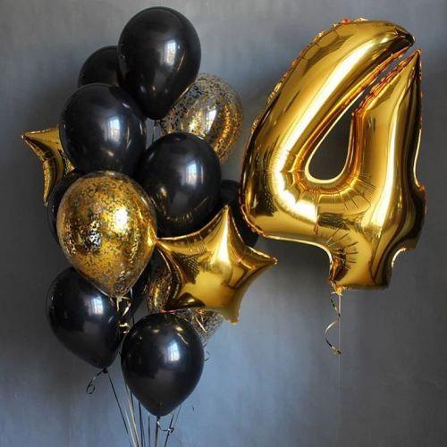 воздушные шары чёрные и золотистые