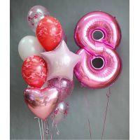 Набор хромовых шаров, большой шар и цифра