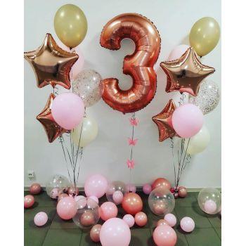 Набор шаров и цифра 3 розовое золото