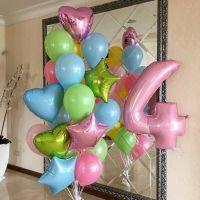 Набор нежно розовых шаров с цифрой 4