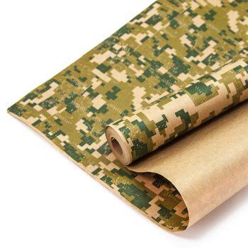 Упаковочная бумага, Камуфляж, Пиксели, Хаки  (0,7x10 м)