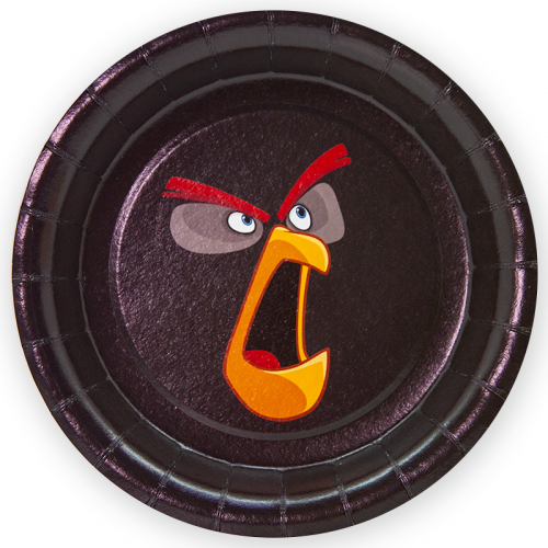 Тарелки (7''/18 см) Angry Birds, Черный, 6 шт.
