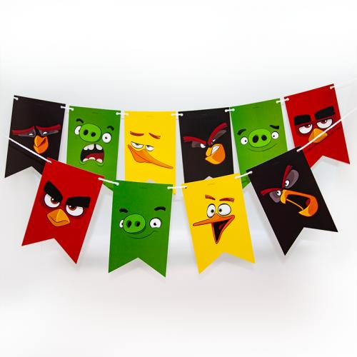 Гирлянда Флажки, Angry Birds, 180 см.
