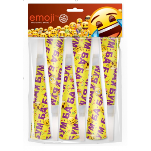 Горны Смайл, Emoji, Желтый, 20 см, 6 шт