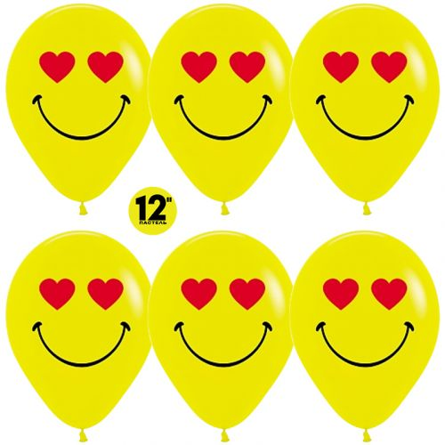 Шарики Смайл Emoji, Желтые (цена за шар)