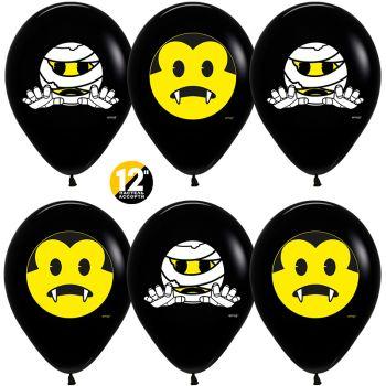 """Шары """"Хэллоуин Emoji"""" , Черный / Желтый (цена за шар)"""