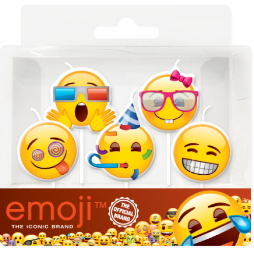 Свечи Смайл, Emoji, Вечеринка, 7 см, 5 шт.