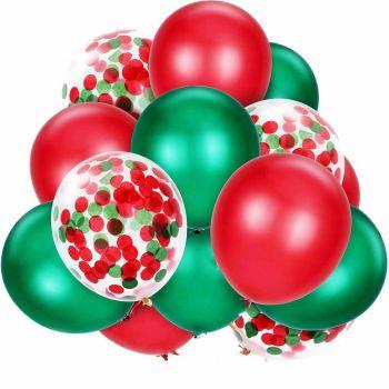 Набор из зелёных красных шаров с конфетти (15 шт)