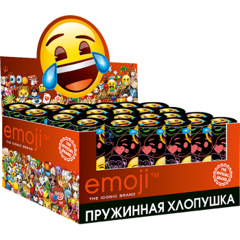 Пневмо Хлопушка, Смайл, Emoji, круги, Черный  (10 см)