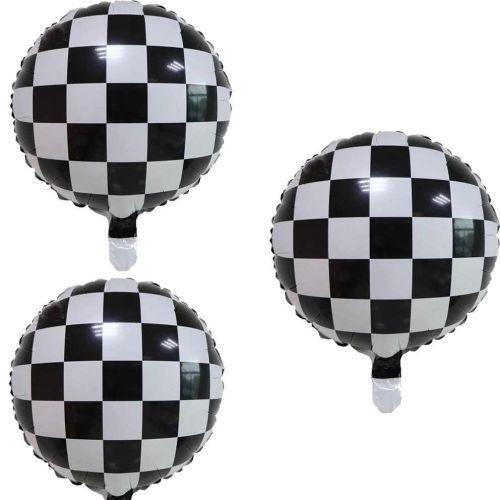 """Фольгированный чёрный шар """"Шахматная доска"""" (1 шт, 46 см)"""