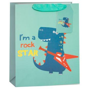 """Подарочный пакет, """"Динозаврик - Рок-звезда"""" 1 шт."""
