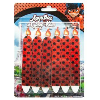 Свечи Черные точки (Леди Баг и Супер-кот), Красный, 7 см, 6 шт