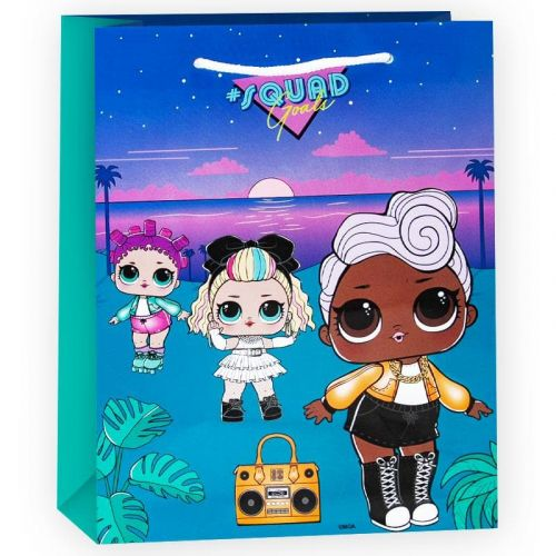 Пакет подарочный, Кукла ЛОЛ (LOL), Голубой, 23*18*10 см, 1 шт.