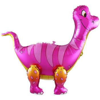 """Фольгированный ходячий шар """"Динозавр - Брахиозавр"""" (Розовый, 64 см)"""