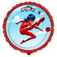 Шар (18''/46 см) Круг, Прыжок Леди Баг, Красный, 1 шт.