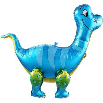"""Фольгированный ходячий шар """"Динозавр - Брахиозавр"""" (Синий, 64 см)"""