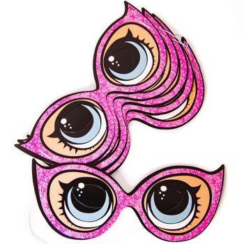 Маска бумажная, Солнечные очки, Кукла ЛОЛ (LOL), Розовый, 6 шт.