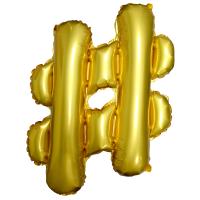 Шар с клапаном Мини-фигура, Хэштег, Золото (43 см)