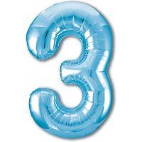 Шар цифра, 3 Slim, Голубой (102 см)