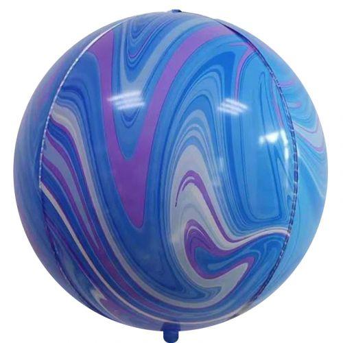 Шар (56 см) Сфера 3D, Мрамор, Голубой/Сиреневый, Агат