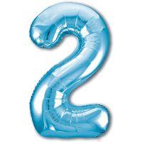 Шар Цифра, 2 Slim, Голубой (102 см)