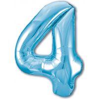 Шар цифра, 4 Slim, Голубой (102 см)