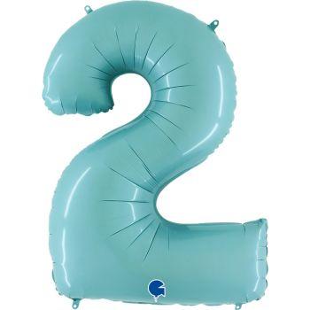 Шар Цифра, 2, Голубой (102 см)