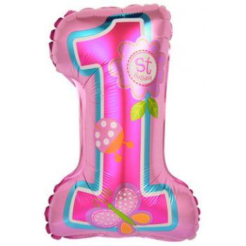 Цифра, Первый ДР Девочки, Розовый  (41 см)