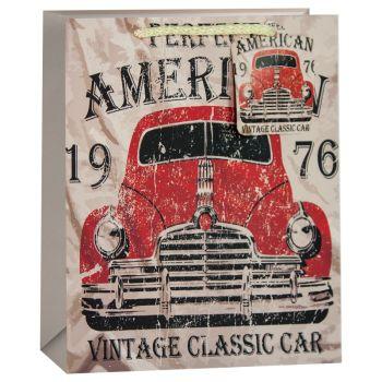 Пакет подарочный, Красный автомобиль, Бежевый, 23*18*10 см, 1 шт.