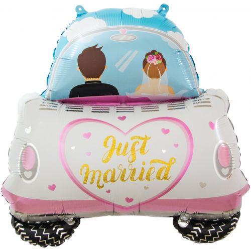 Шар молодожены, свадебный автомобиль (74 см)