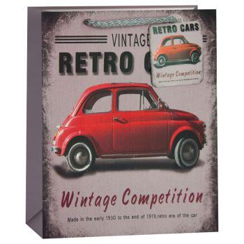 Пакет подарочный, Красный ретро-автомобильчик, Серый, 23*18*10 см, 1 шт.