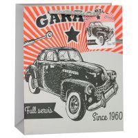 Пакет подарочный, Ретро-автомобиль, Серый, 23*18*10 см, 1 шт.