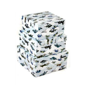 Набор коробок, Авиация в небе, 20*20*10 см, 3 шт.
