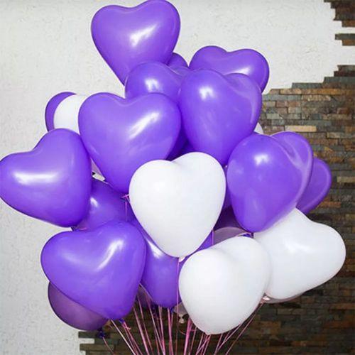Связка фиолетовых и белых шаров (20 шт.)