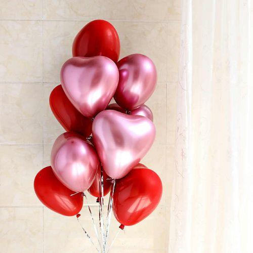 Сердце (розовый хром и красные матовые, 30 см)
