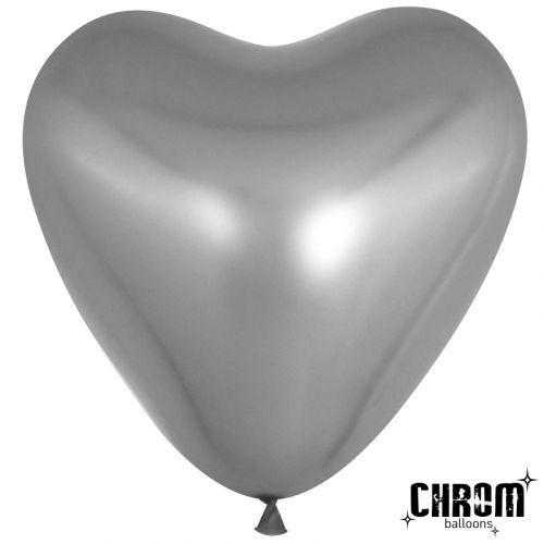 Сердце хром серебро (30 см)